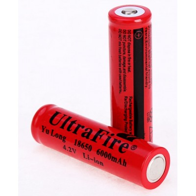 UltraFire Li-ion 4.2V 6000mah 18650 Battery - RED x 2
