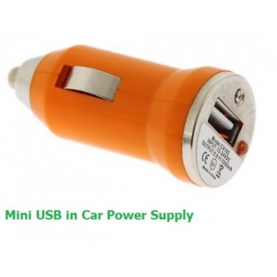 Mini USB Bullet 12v Car Charger 700mA for iPhone / Android